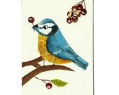 Original ACEO, Blue tit Bird, Spring, Gouache Painting, collage, art, bird lovers, british bird, Mixed media collage art