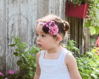 Butterfly Baby Headband, Burgundy Baby Headband, Wine Flower Headband, Rose Burlap, Newborn Photo Prop, Baby Shower Gift, Pink Wine Headband