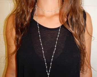Light Blue Bead Chain Wrap Necklace with Crystal Pendant