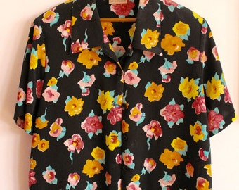 Vintage Black floral Button up Blouse