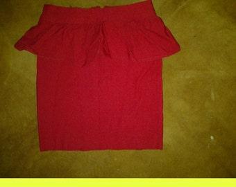 Stretch//Red//Peplum//Skirt//Size: Xs//Small//2