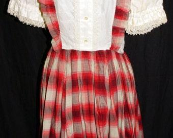 1950s Womens Girls Plaid Western Dress Sz 4 Vintage Retro Rockabilly