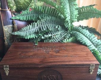 Wine Box, Custom Wine Box, Large Wine Box, Personalized, Wood Wine Box, Engraved, Wine Box Ceremony, Rustic Wedding, Love Letter Box, Gift