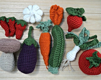 vegetable amigurumi set for thanksgiving table decoration