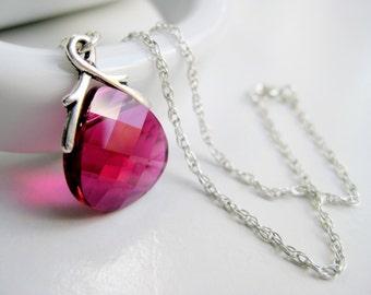 Hot pink necklace, Swarovski crystal necklace, magenta jewelry, sterling 925, tear drop necklace handmade