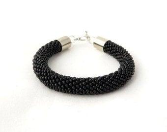 Black Bracelet, Bead Crochet Bracelet, Beaded Bracelet, Magnet Clasp, Gothic Bracelet, Black Rope Bracelet, Noir Bracelet, Frosted Black