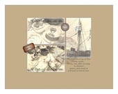 Tea Gift Card Cup of Tea Note Card Digital File 3 Victorian Steampunk Tea Service Sail Mast Ship Affix Tea Bag Here Stationery Gift Card