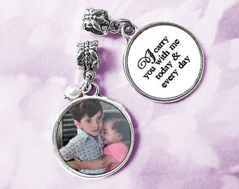 Custom double-sided Bouquet Photo Charm / Silver Wedding Memorial / Bridal Keepsake Gift / two sided pendant