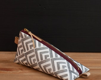Work at home design pencil case with Seigaiha pattern