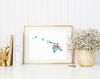 Hawaii Art Print, Watercolor State with Flowers, Hawaii Print in Turquoise, Home Decor