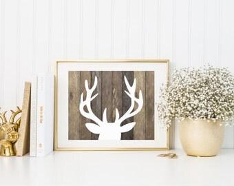 Deer Art Print, Deer Art Print, Rustic Home Decor on Wood Background