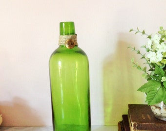 VINTAGE GLASS BOTTLE, Vintage Button accent on Green Glass Bottle,Rare PmP bottle,  Up Cycled bottle, Bottle for decor