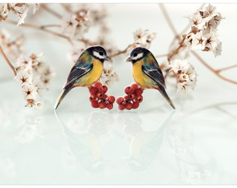 great tit brooch, a pair of bird brooches, bird jewelry