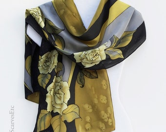 Hand painted silk scarf, Black yellow gray silk scarf, Gold roses, Black floral silk, Painted artist silk scarf, Gold black roses silk scarf