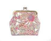 Clutch Bag Kisslock Purse Frame Purse Evening Bag Wedding Bag Bridesmaid Bag Floral Fabric Silver Nickel Frame UK Seller