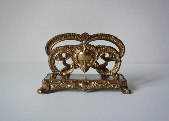 Vintage letter holder brass letter holder gold office for Gold letter rack