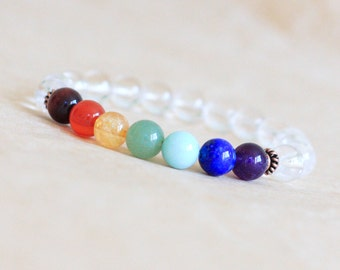 7 Chakra Bracelet, Womens Mens Mala Bracelet, Chakra Beads, Yoga Jewelry, Wrist Mala Beads, Natural Jewelry, Quartz Crystal