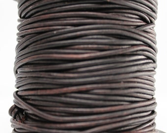 10 Meters of 2MM Natural Dark Brown Leather Cord (10 yards) (10m)