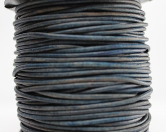 10 Meters of 2MM Natural Blue Leather Cord (10 yards) (10m)