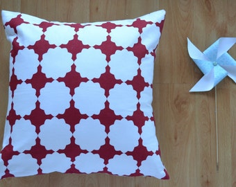 RED & WHITE GEOMETRIC | Cushion Cover 45 x 45cm | Free Shipping to Australia