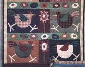 Adorable Primitive Design Chicken Wall or Lap Quilt Pattern UNCUT