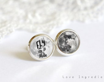 Fly me to the moon tiny stud earrings, gold silver vintage tiny stud earring everyday jewelry Post earrings, free gift box, universe SG028