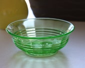 Vintage Green Glass Bowl -- Vintage Green Glass Kitchenware