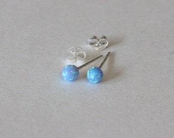 light blue opal earrings, opal stud earrings, Tiny Ball stud earrings, children earrings, teeny tiny studs dot earrings.