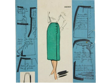 Vintage skirt pattern, French 1950s straight skirt EU size 44, US 12