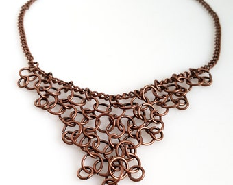Chainmaille Necklace / Antique copper jewellery / Fringe Necklace /