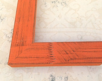 Rustic Orange Picture Frames - 4x4, 4x6, 5x5, 5x7, 8x8, 8x10, 8.5x11, 16X20, 18X24, 24X30 Custom Sizes Picture Frames