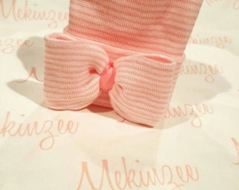 Personalized Gift Set. Newborn Hospital Hat (Regular top/double ply) and 100% Organic Swaddle Blanket.  Baby Name Blanket.
