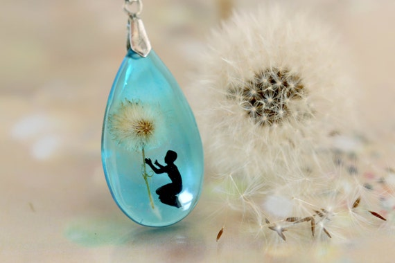 Dandelion Necklace ,teardrop, sterling silver 925, dandelion seeds, magic, make a wish,universe pendant, cosmic necklace, unique ,fairy tale