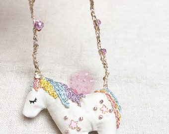 Hand Embroidered Magic Unicorn long crochet Necklace
