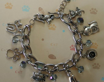 Stainless Steel Kitty Charm Bracelet- 7 charms!!