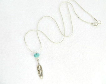 Southwestern Necklace Tribal Boho Feather Necklace Turquoise Necklace Southwest Necklace Native American Christmas Gift Stocking Stuffer