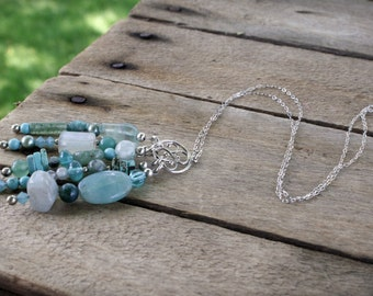 NECKLACE:  Sterling Silver Pendant Tassel, Ocean tones of Turquoise, Aqua and Sea Greens, Handcrafted Artisan Quality