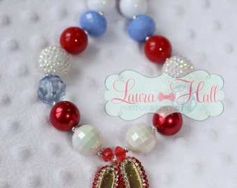 DOROTHY WIZARD of OZ chunky bubblegum necklace, Dorothy bubblegum necklace, red white blue chunky necklace, Dorothy bubblegum necklace