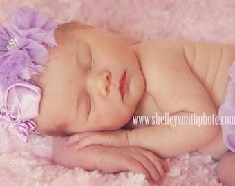 Baby headband, lavender flower headband, infant headband, baby girl headband, newborn girl, first birthday, lavender headbands