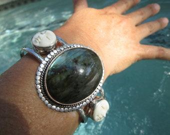Labradorite, Shell and Sterling Silver Cuff Bracelet