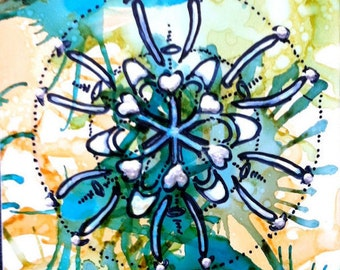 Mandala, art card, ACEO, Atomic Mandala, Original art, Tiny Painting, Alcohol Ink, Mixed Media, collector card, yellow, green, mandala art