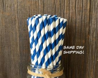 Navy Straws, 100 Stripe Straws, Blue Birthday Party,  Paper Party Straws, Baby Shower, Wedding Supply,  Free Shipping