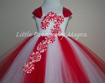 Candy Cane tutu dress and matching headband, Christmas Carol tutu dress size nb to 12years