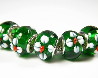 1x Murano Lampwork Glass Beads - Green With White Flowers - Large Hole - Fits European - Jewelry Supplies