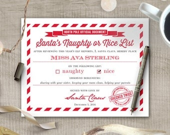 Etsy kids here comes santa claus etsy custom santas naughty or nice list certificate printable letter from santa template with editable text yadclub Image collections