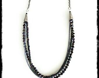 Long Layered Beaded Necklace; Multi Strand Necklace; Multi Layer; Chain Necklace; Geometric Beads; Metallic; Modern Jewelry