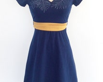 Wowen dress - cotton dress - comfortable - short sleeves - jersey - belt - PRALINE Navy / dots / ocher -20% off!