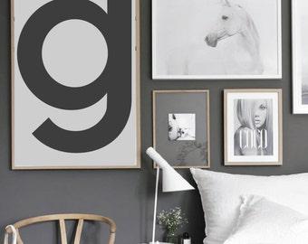 "Letter G print  - Scandinavian style print - Wall art - Digital Print - Letter Art - 50x70 cm - 15""x21"" - custom size"