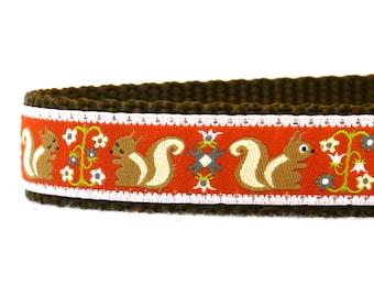 Folk Squirrels dog collar / red and brown/ ribbon dog collar/ adjustable dog collar