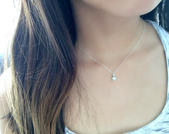925 sterling silver Star CHOKER cubic zirconia star choker cz star choker tiny star necklace cz jewelry star jewelry minimalist jewelry cz